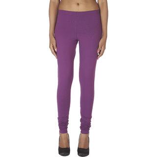 Soie Purple Cotton Solid Leggings