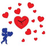 Zeeshaan Cupid Heart Red & Blue Wall Clock