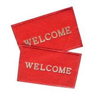 Akash Ganga Red Contemporary Welcome Mats 2 Pcs