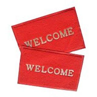 Akash Ganga Red Contemporary Welcome Mats 2 Pcs