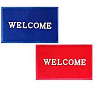 Akash Ganga Combo of Red  Blue Contemporary Welcome Mats (2 Pcs)