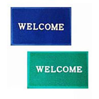 Akash Ganga Blue  Green Welcome Mat (Set Of 2)