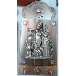 Wooden Key Holder Accented With Radha Krishan Painting