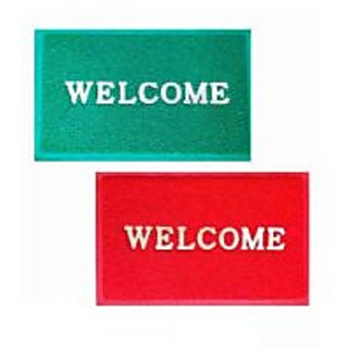 Akash Ganga Red  Green Contemporary Welcome Mats (2 Pcs)