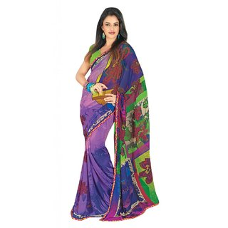 Triveni Purple Georgette Printed Saree With Blouse