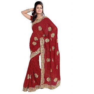 Triveni Appealing Maroon Color Bridal Wear Indian Traditional Embroidered Saree
