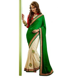 Triveni Stylish Cream Party Wear Embroidered Indian Ethnic Saree