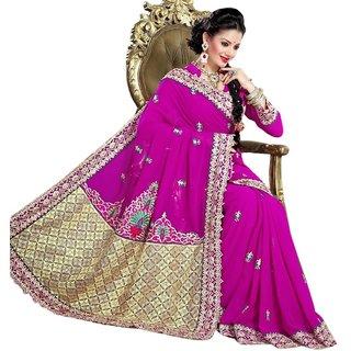 Triveni Splendid Magenta Party Wear Indian Designer Embroidered Saree