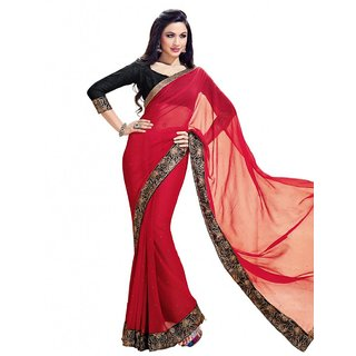 Triveni Red Georgette Self Design Saree With Blouse