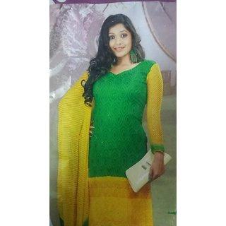 Akash Ganga Beautiful Pure Chiffon Yellow  Green Ladies Suit