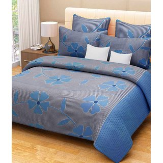 Akash Ganga Blue Cotton Double Bedsheet with 2 Pillow Covers (KM-001)