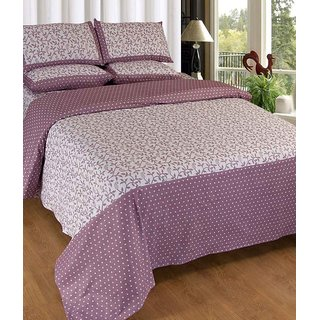 Akash Ganga (Onion Colour) Cotton Double Bedsheet with 2 Pillow Covers (KM-010)