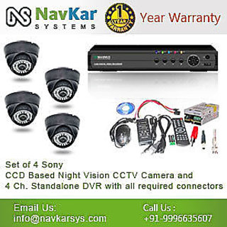 Set of 4 NIGHT Vision CCTV Dome Camera And 4 ch DVR With All Requi Connectors