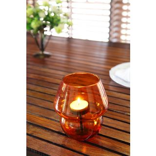 Candle Holder/Stand- Aero Glass With Tea Light Stand-Tangerine Orange- Lightfish