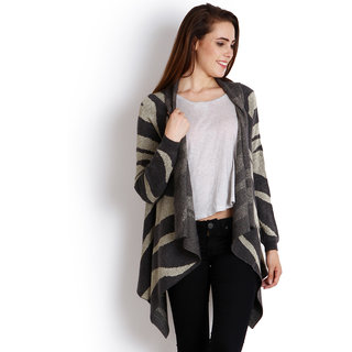 Womens Charcoal color Woollen Printed Shrug by Intense