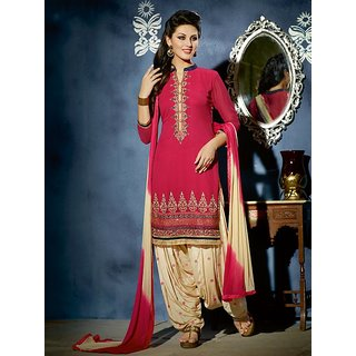 Sareemall Pink Georgette Embroidered Salwar Suit Dress Material (Unstitched)