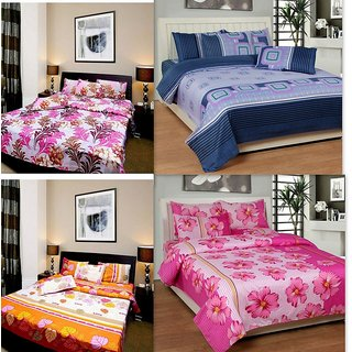k decor set of 4 premium quality double bedsheet with 8 pillow covers (MJS-001)