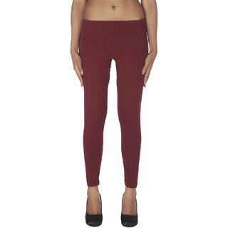Soie Maroon Cotton Solid Leggings