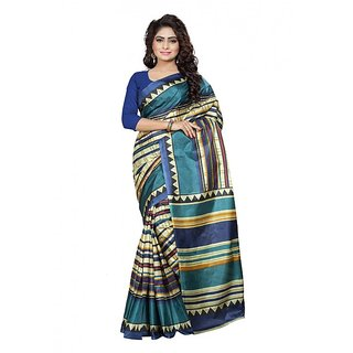 Ambaji Blue  Beige Colored Silk Saree