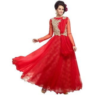 readymade anarkali suit red colour white net