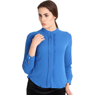 Soie Blue Solid Full Sleeve Top