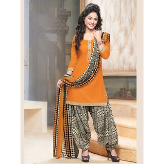 Sareemall Orange Satin Embroidered Salwar Suit Dress Material