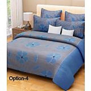 S Redish Blue Flower Design Bedsheet