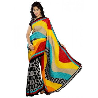 Florence Black  Yellow Faux Georgette Printed Saree (FL-10161-A)
