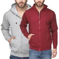Grand Bear Men's Maroon  Grey Sweatshirt (Combo of 2)
