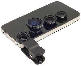 3 In 1 Universal Clip Mobile Phone Lens with Fish Eye + Macro + Wide Angle (Bla)