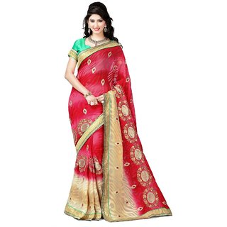 Sitaram Womens Red brasso Printed saree with blouse piece