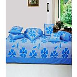 Akash Ganga Blue Cotton Floral Diwan Set (8 Pieces) (KMK706)