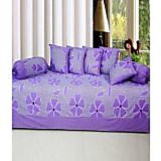 Akash Ganga Purple Cotton Floral Diwan Set (8 Pieces) (KMK710)