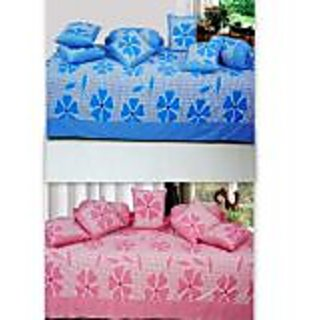 Akash Ganga Combo of 2 Cotton Floral Diwan Set (BluePink)