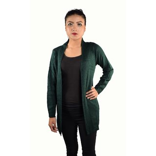Q.I Struck Free Size Cardigan cotton green for Women