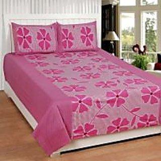 Akash Ganga Pink Cotton Double Bedsheet with 2 Pillow Covers (KMZ-005)