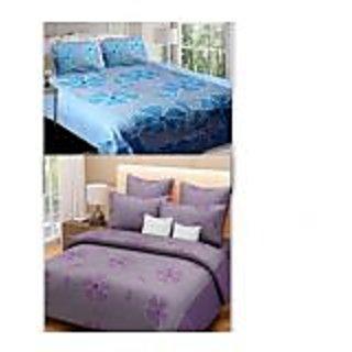 Akash Ganga Combo of 2 Cotton Floral Double Bedsheets (BluePurple)