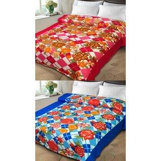 K Decor Multicolor Poly Cotton Double Bed Printed Fleece  Polar Blankets (Buy 1 Get 1)