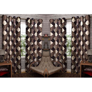 Shiv Shankar Handloom Check Coffee Door Curtain (Set of 4)