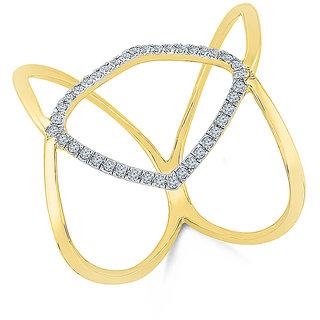 Radiant Bays Rapture Premium Diamond Cocktail Ring in 18k Yellow Gold (Diamond Quality VVS-GH)