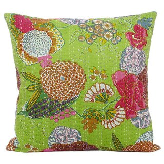 Craftbaba handmade green kantha cotton cushion cover 16 inch