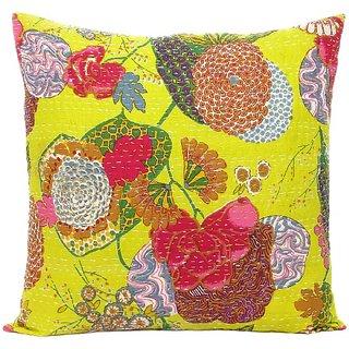 Craftbaba handmade yellow kantha cotton cushion cover 16 inch