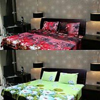 Akash Ganga Multi-Colour 2 Double Bedsheet with 2 Pillow Covers (KK COMBO 103)