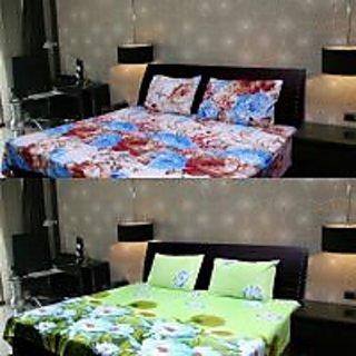 Akash Ganga Multi-Colour 2 Double Bedsheet with 4 Pillow Covers (KK COMBO 104)