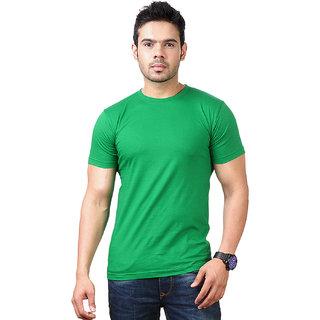 Ketex Men's Green Round Neck Synthetic Plain T-shirt