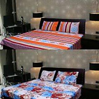 Akash Ganga Multi-Colour 2 Double Bedsheet with 4 Pillow Covers (KK COMBO 106)