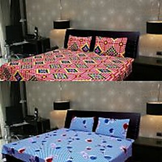 Akash Ganga Combo of 2 Cotton Double bedsheet with 4 Pillow Cover (KK COMBO 110)