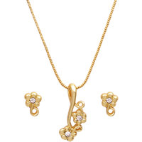 Golden Peacock Gold Plated Earring And Pendant Set