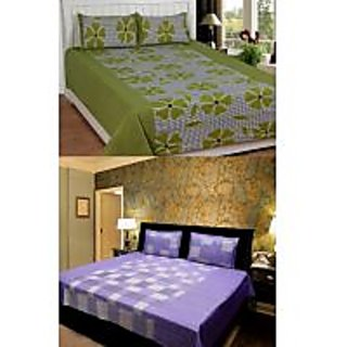 Akash Ganga Combo of 2 Cotton Double bedsheets with 4 Pillow Covers (KK COMBO 2)