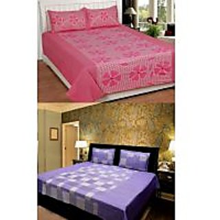 Akash Ganga Combo of 2 Cotton Double bedsheets with 4 Pillow Covers (KK COMBO 4)